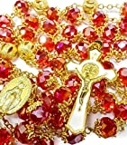 High Quality St. Benedict Gold Plated Red Crystals Beads Rosary Miraculous Medal