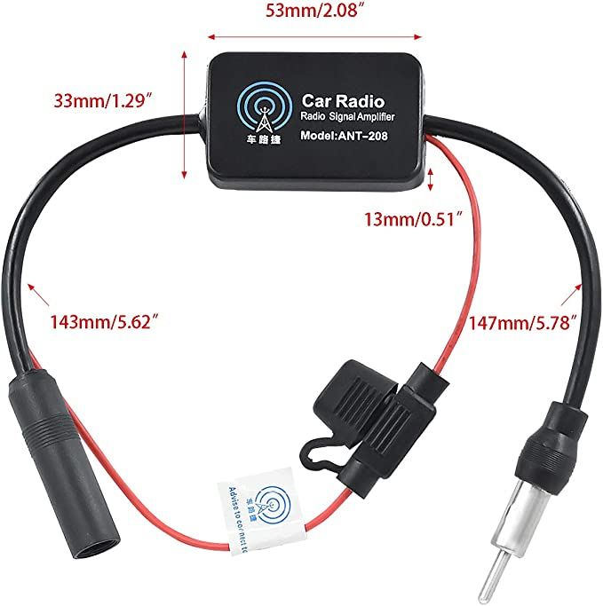 Wekon Auto Car Antenna Amplifier 12 13db Radio Antenna Signal Amplifier Audio Stereo Fm Am For Vehicle Car Radio Dc10 15v Auto