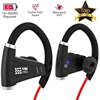 Bluetooth Headphones w/ 12+ Hours Battery - Best Workout Wireless Sport Earphones w/Mic - IPX7 Waterproof Music Earbuds for Gym Running