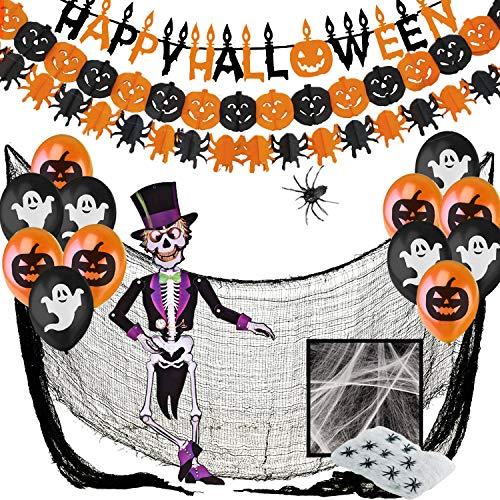 Comprar Decoracion Halloween Casa - Banderas, Guirnaldas Calabaza y Arañas,Globos,Tela De Araña,Araña Gigante, Esqueleto...></noscript>>>