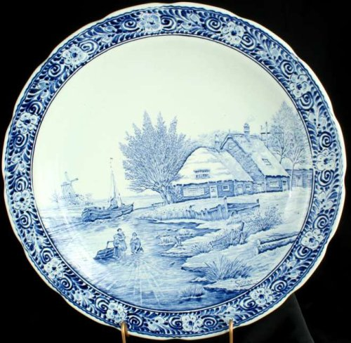 (Large Vintage Transferware Blue Delft Plate Charger)