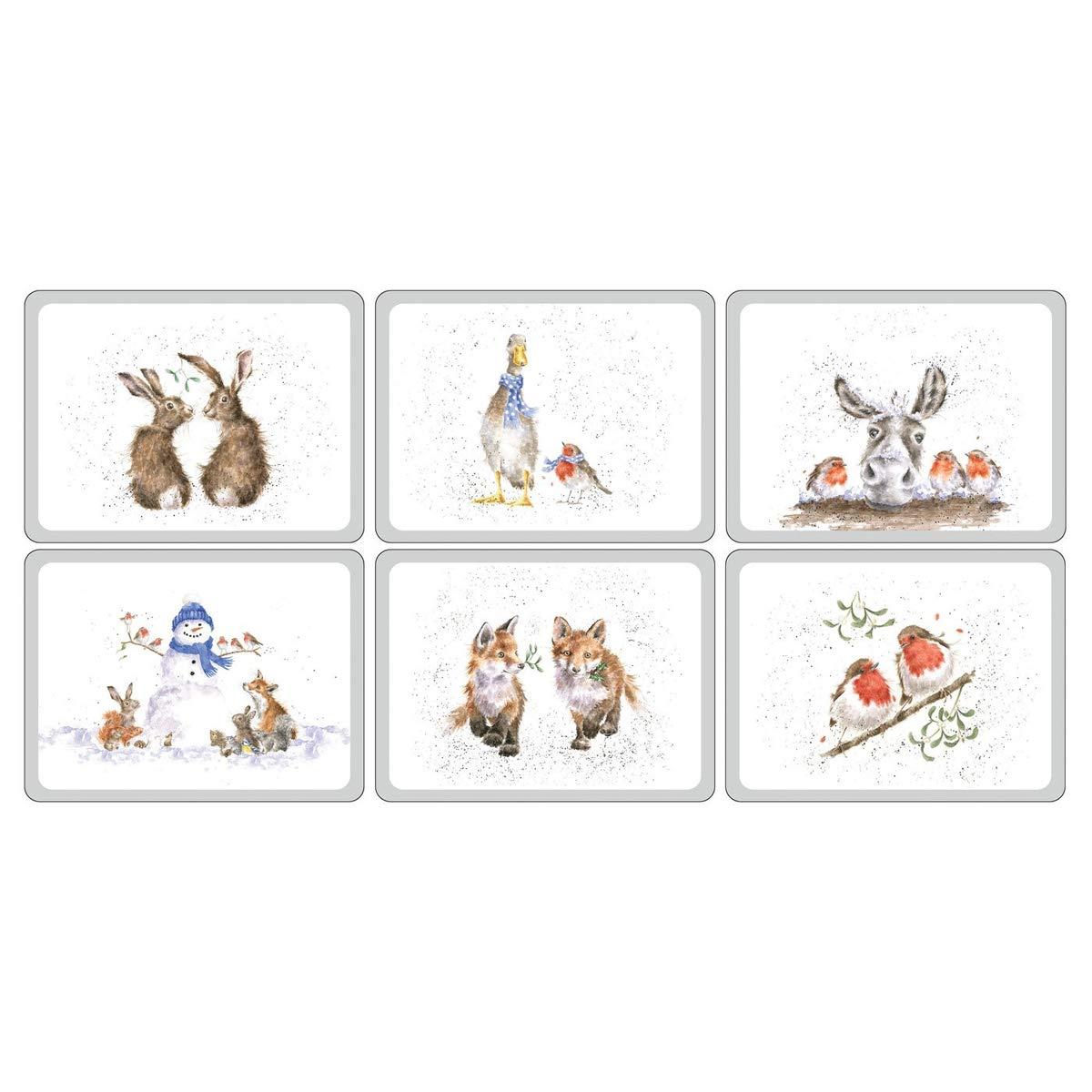 Pimpernel X0010568976 Wrendale Weihnachts-Tischsets, 6 Stück