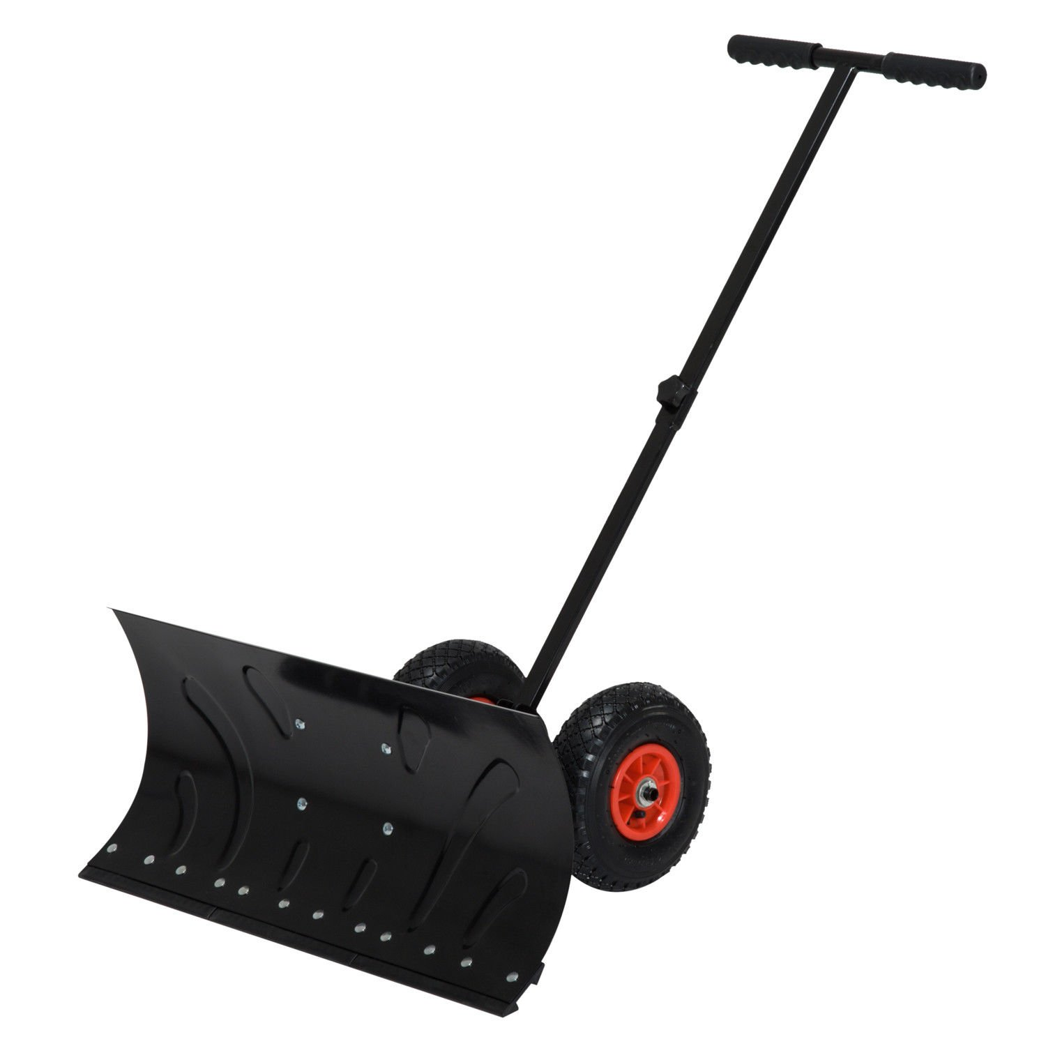 Outsunny 29'' Blade Rolling Snow Pusher Shovel with Wheels and Adjustable Handle by HOMCOM