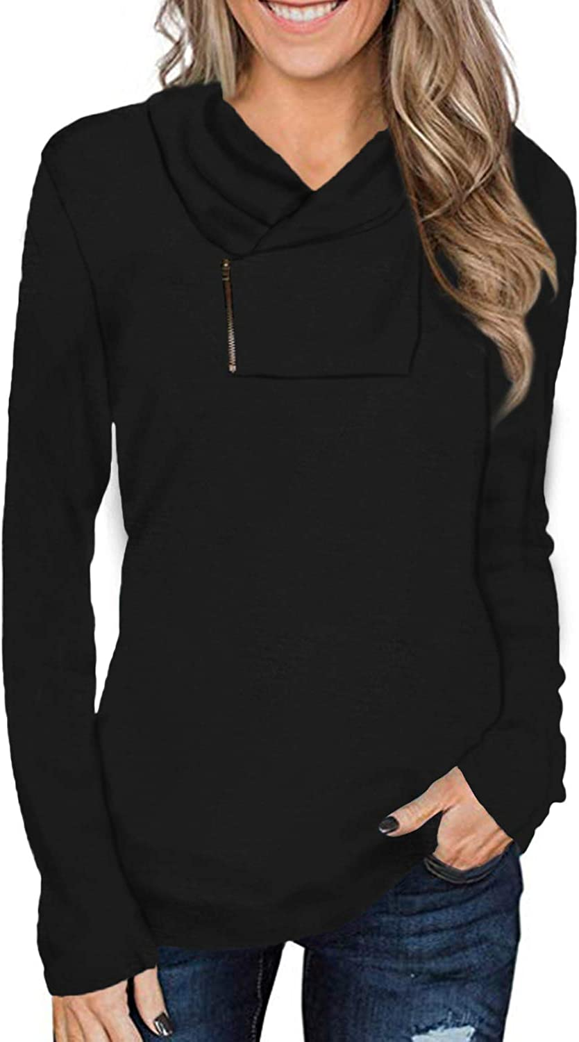 Cyanstyle Women's Long Sleeve Pullover Zipper Cowl Neck Tops Solid Sporty Sweatshirts: Clothing