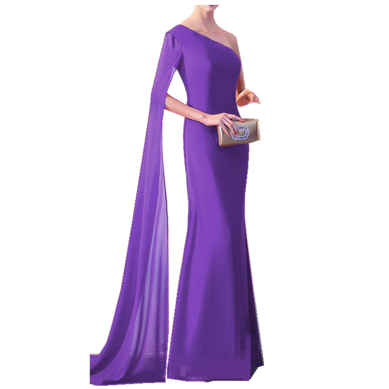 Purple Ruiyuhong Women's Sexy One Super Long Sleeve Evening Dress Slit Evening Gown
