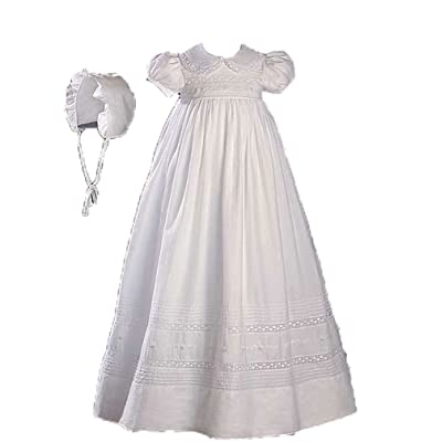 """32"""" Short Sleeve Christening Gown with Hand Embroidery and Pintuck, 12"""