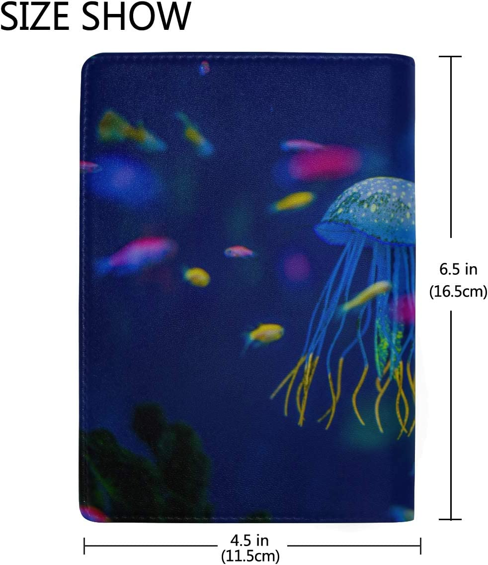 Aquarium Of Jellyfish Seaweed Blocking Print Passport Holder Cover Case Travel Luggage Passport Wallet Card Holder Made With Leather For Men Women Kids Family Fish