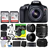 Canon EOS Rebel DSLR T6 Camera Body + Canon 18-55mm EF-S IS II Autofocus Lens + Wide Angle & 2x 58mm Lens + SanDisk 64GB Card + T6/1300D for Dummies + Photo4Less Gadget Bag + Quality Tripod – Full Kit