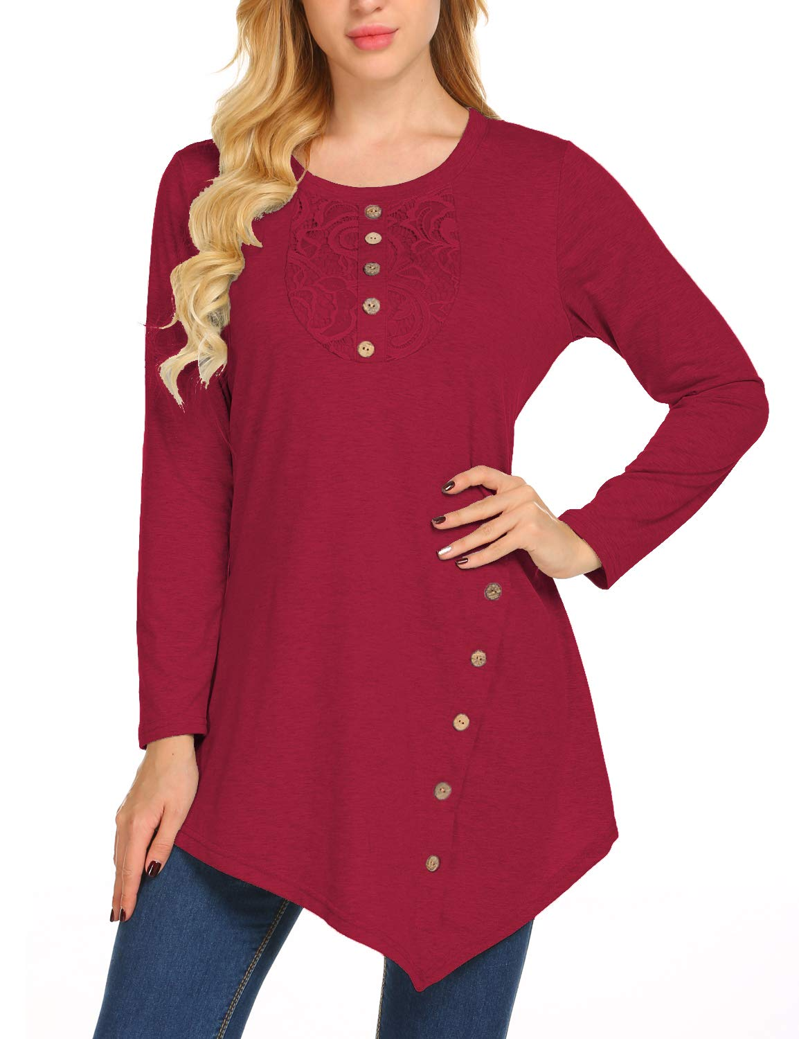 Sweetnight Womens Casual Loose Scoop Leck Long Sleeve Tops for Women Plus Size (Wine Red, L)
