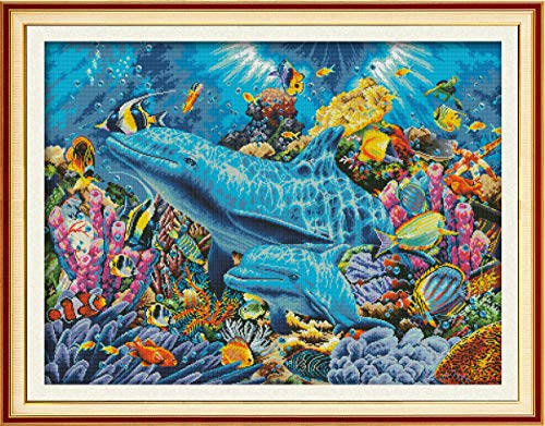 - Cross Stitch Pre-Printed Kits Advanced Cross-Stitching Patterns for Adults Beginners Stamped Cross-Stitch Kit Dolphin in Sea Embroidery Kits- Needlepoint Starter Kits for Home Wall Decor
