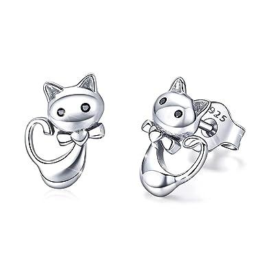 Pendientes de plata de ley con diseño de gato para mujer o niña, regalo para el día de la madre