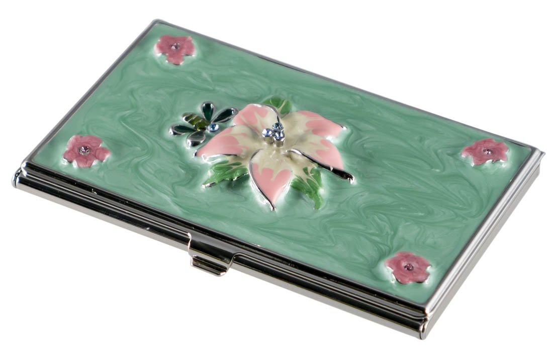 Visol Flora Green and Pink Lacquer with Crystals Women's Business Card Case (Set of 6)