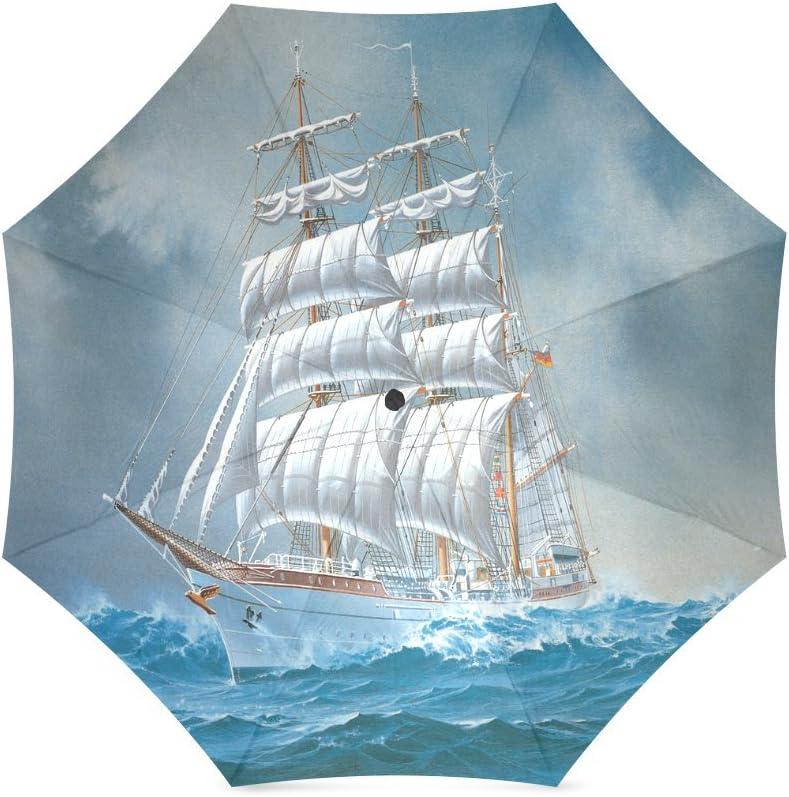 Unique Custom Sailing Boat Ship Pattern Compact Foldable Rainproof Windproof Travel Umbrella