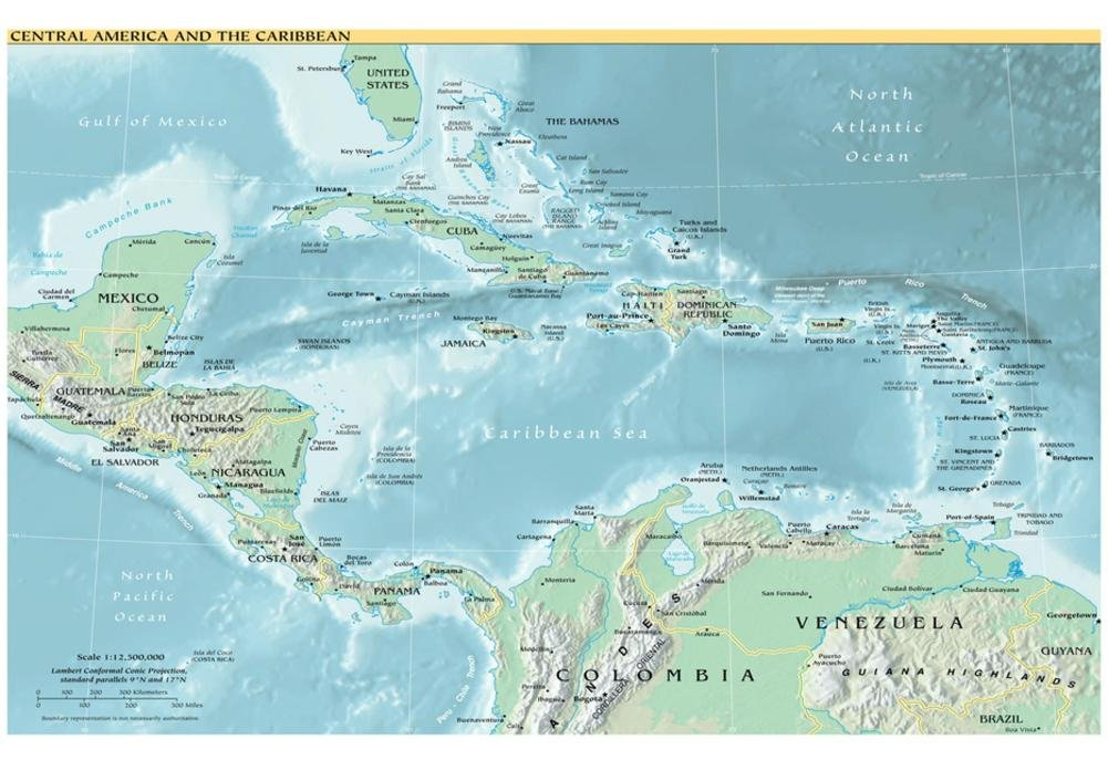 Amazon Com Map Of Central America And The Caribbean Political Art