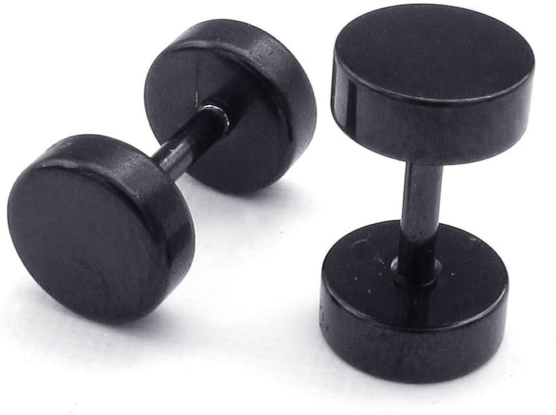 Bigpea Bijoux Boucles doreilles pour Hommes,Boucles doreilles en Cercle de largeur de 6mm Acier inoxydable Noir