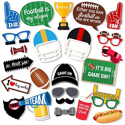 Printable Photo Booth Props (Super Bowl Photo Booth Props - 27 Pieces Football Party, Touch Down Frenzy Sport Soccer Birthday Party Favors Decoration Supplies, Sports Gathering, Tailgate Parties, Game Night, Theme Party Game)