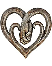 Heart Holding Hands Wall Decor Decorative Art Sculpture, Decorative Art Sculpture - Faux Wood Finish - Forever Love, Heart Sculpture Faux Wood,Handicraft Wooden Decoration
