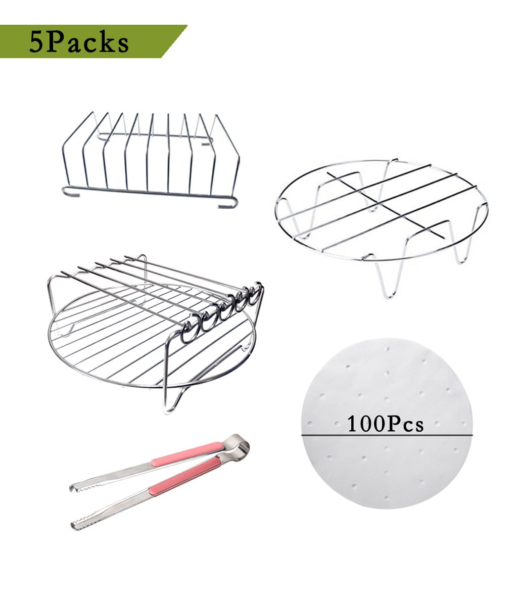 Befound Air Fryer Large Racks Accessories Kit, Fit for Philips XL Gowise Power Avalon Bay Black and Decker (5 Packs)