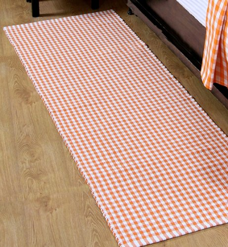 homescapes tapis de couloir vichy carreaux 100 coton tapis tiss la main orange blanc 66 x 200 cm lavable la maison tapis chemin - Tapis Descente De Lit