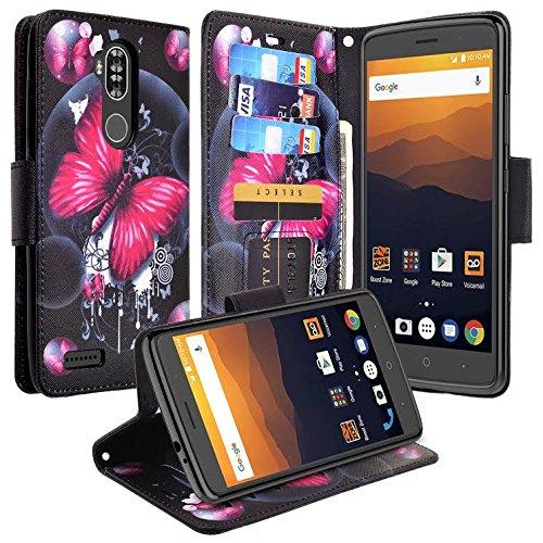SOGA Cover Compatible for ZTE Max XL Case, ZTE Blade Max 3 Case, ZTE Max Blue Case, SOGA PU Leather Magnetic Flip Design Wallet Phone Case (Pink Butterfly)