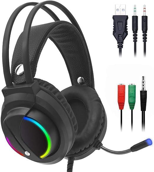 Auriculares con cable para juegos para Xbox One PS4, con micrófono con cancelación de ruido/Controlador de 50 mm / Sonido envolvente USB 3.5 mm Gaming sobre auriculares, para computadora y más: Amazon.es: