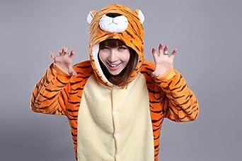 Honeystore Adult Unisex Tiger Pajama Halloween Costume Cosplay Animal One  Piece