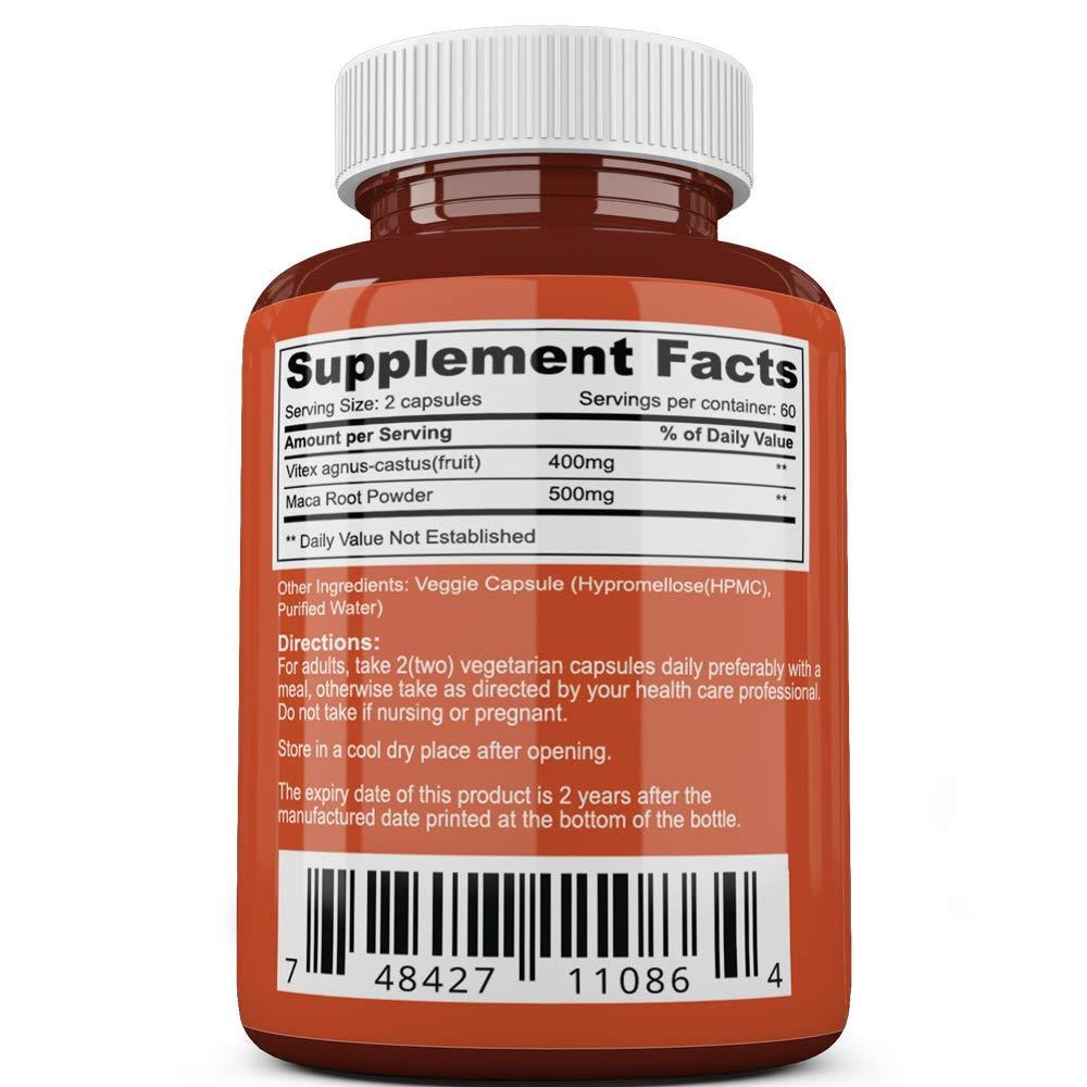 Vitex and Maca Root | Extra Strong 900mg | 400 mg Vitex Berry 500mg Maca |  2 Month Supply
