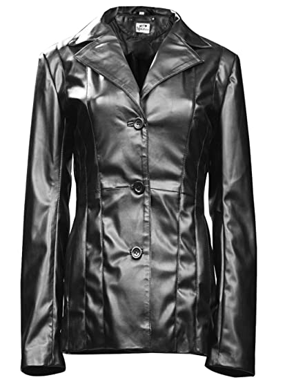 da500dc1ae5 ST Ladies Trench Coat Black 3-Button Single Breasted Faux Stylish Womens  Mid Length Long Leather Jacket Petite Short Plus at Amazon Women s Coats  Shop