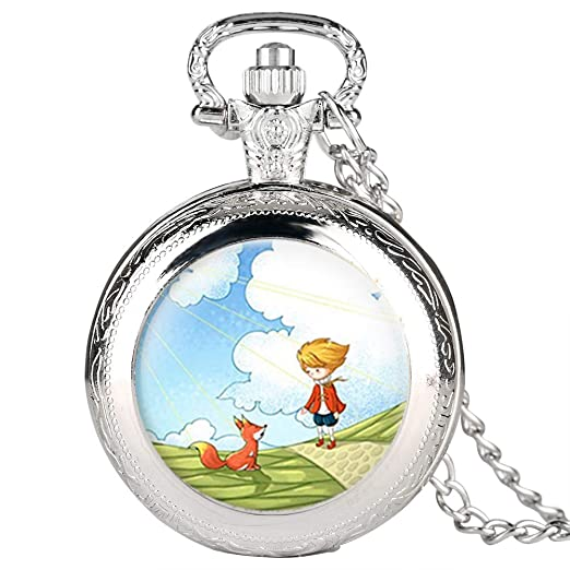 Reloj de Bolsillo Plateado para Hombre, diseño de Dibujos Animados, Reloj de Bolsillo para niño, Reloj de Bolsillo Digital árabe para Adolescentes: ...