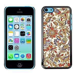 Be Good Phone Accessory // Dura Cáscara cubierta Protectora Caso Carcasa Funda de Protección para Apple Iphone 5C // Floral Vintage Retro Colorful Wallpaper Blossoms