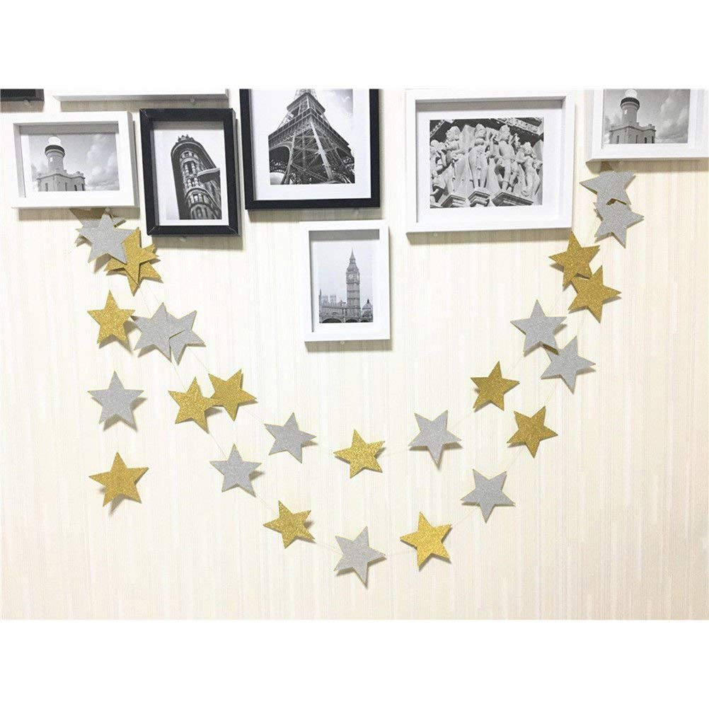 50 feet Twinkle Star Paper Gold /& Silver Gold Garland Bunting Banner Hanging Glittery Decoration TTSAM Twinkle Star Decor for Birthday Party Baby Shower Christmas Weddings Christenings Barbecue Fetes Gard