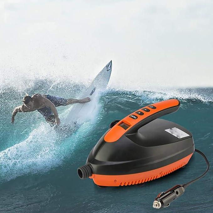 AMhuui Bomba eléctrica Sup 20PSI Smart,Bomba de Alta presión de 12V DC Etapa Dual Inteligente Función de Apagado automático para Paddle y Barco inflables: ...
