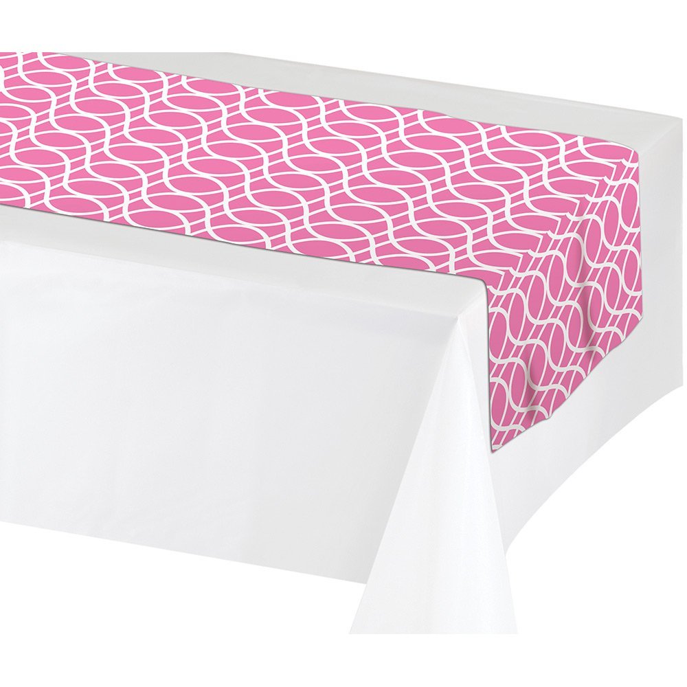 Creative Converting 317316 12Count Plastic Table Runners, 36cm x 210cm , Candy Pink   B06XS6LN28