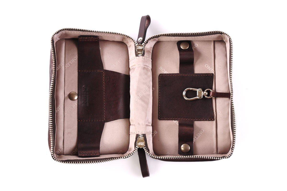 Buffalo / Vachetta Carryall Travel Kit (Walnut) by Borlino (Image #3)