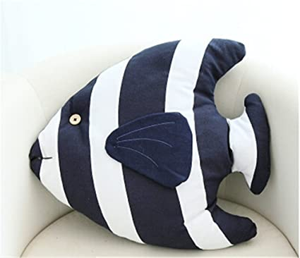 Tropical Fish Shaped Nautical Pillow Decorative Throw Pillows Couch Sofa Decoration 18 x 15