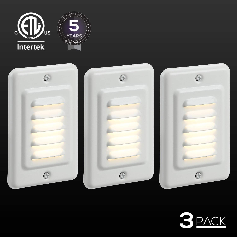 TORCHSTAR Indoor/Outdoor LED Step Light, IP65 Waterproof Mini Wall Mount Stair Light, ETL Certified, 5 Years Warranty, Pack of 3