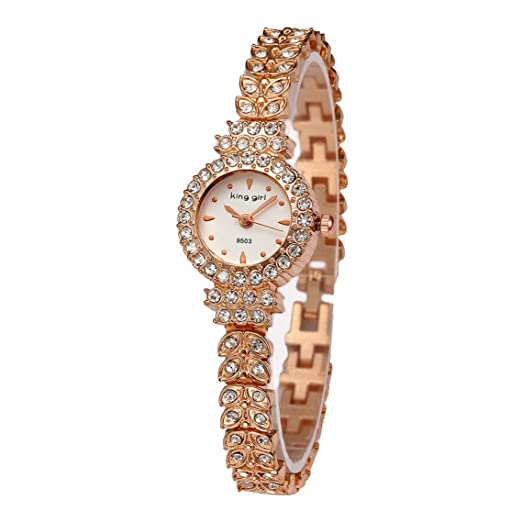 5d6527f3a King Girl royal rose gold bracelet watch women top brand unique full  crystal diamonds for ladies quartz round - white dial: Amazon.ca: Watches
