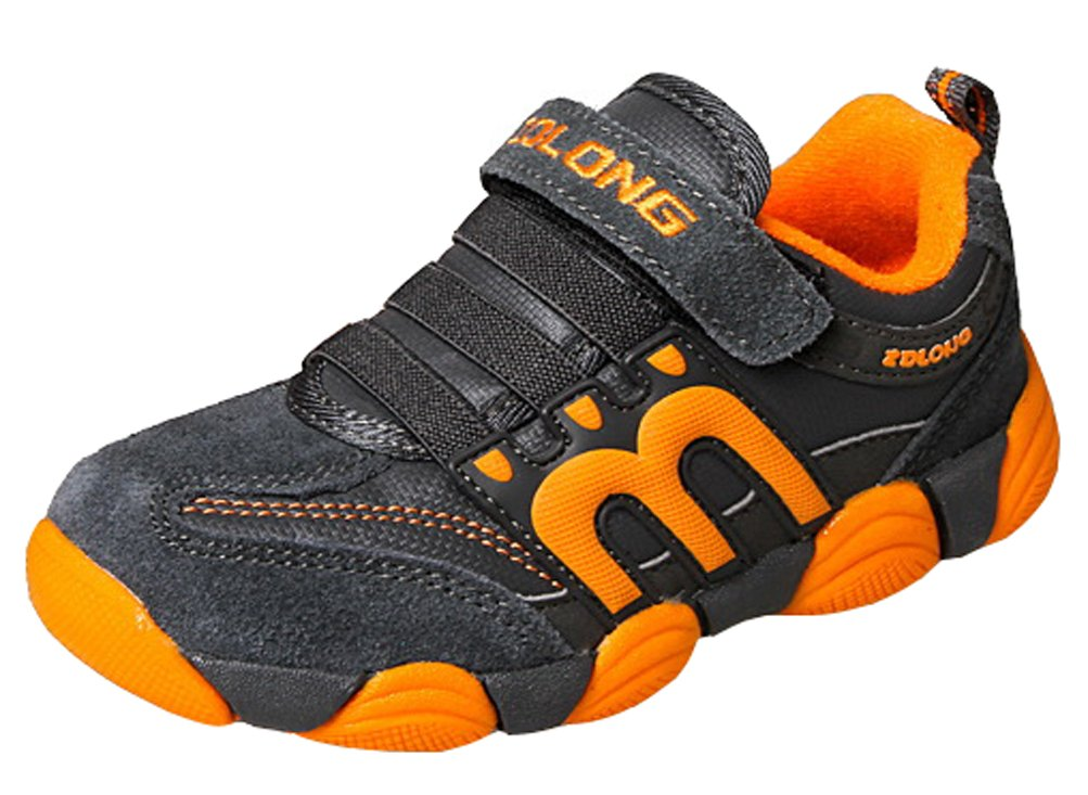 iDuoDuo Boys and Girls Comfort Leather Suede Sneakers Running Shoes Orange 1 M US Little Kid