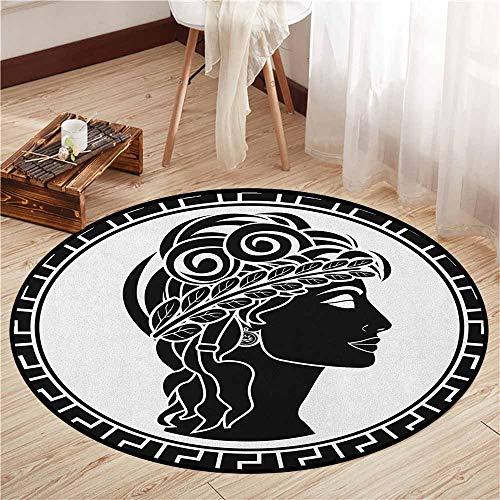 Round Rugs,Toga Party,Classic Stencil Antique Period Roman Folk Woman Artistic Muse Hellenic Image,Children Bedroom Rugs,4'3