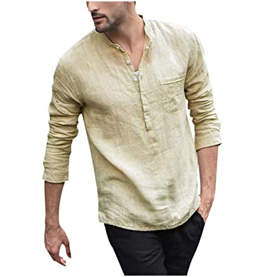 WINJUD Men Pullover Tops Vintage Sweatshirts Button Linen Solid Jumpers Long Sleeve Retro Shirts Blouse(,): Clothing