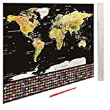 Large Scratch Off World Map Poster with USA States and Country Flags - 32.5'' X 23.5'' - Wall Art for School Studies or Tracking Travel Adventures - Includes Map, Scratch Pen, and Gift Tube - by GPSEED