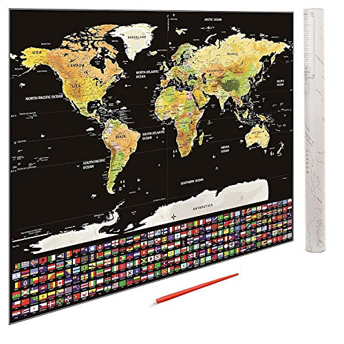 Large Scratch Off World Map Poster with USA States and Country Flags - 32.5'' X 23.5'' - Wall Art for School Studies or Tracking Travel Adventures - Includes Map, Scratch Pen, and Gift Tube - by GPSEED by GPSEED