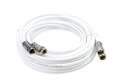 MAST Digital - 3m Extensión Cable coaxial twin ideal para Satélite TV, Cable Coaxial Blanco