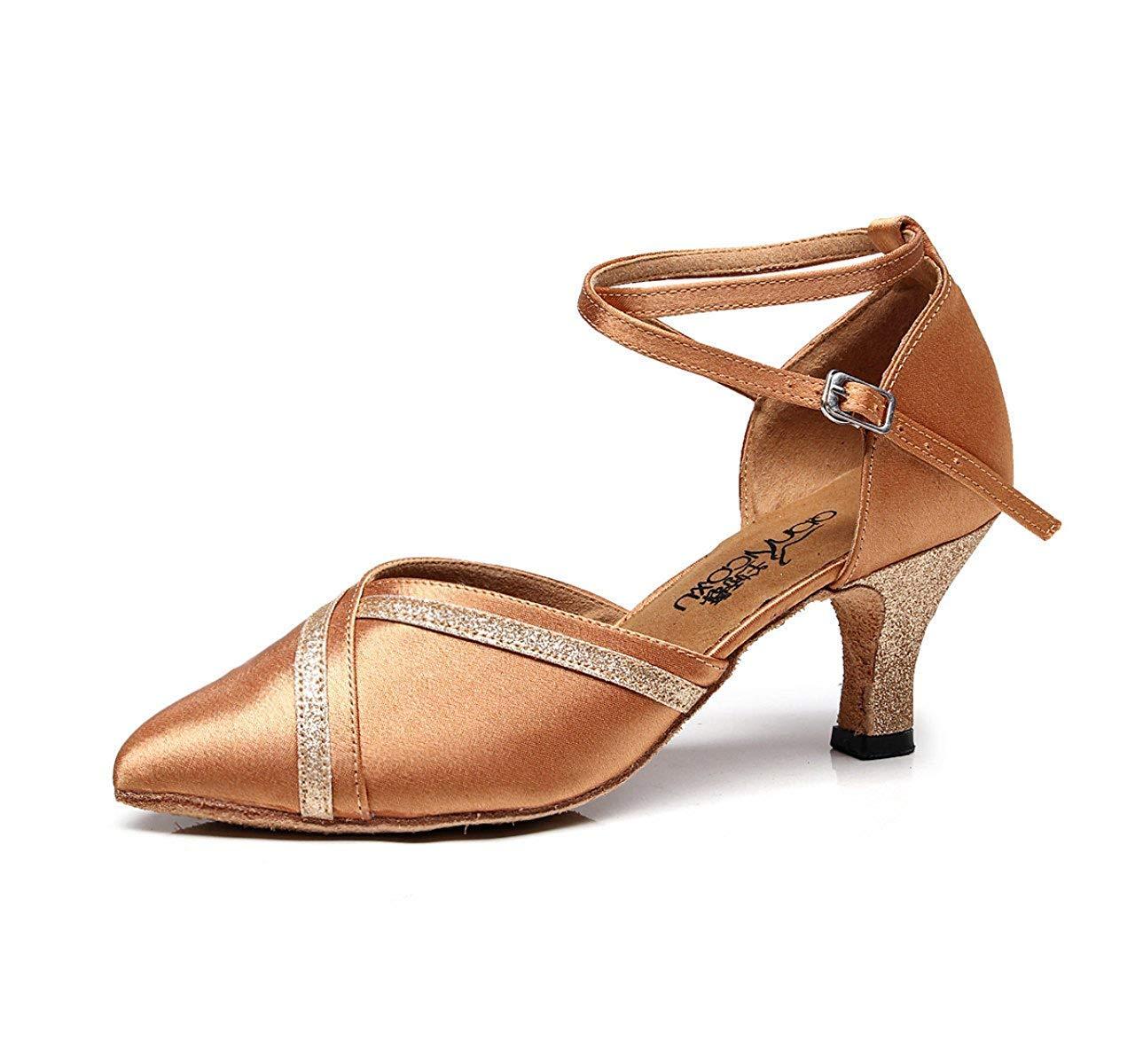 Latin Dance Schuhe für Damen Salsa Tango Chacha Samba Modern Jazz Schuhe Sandalen High Heels B-Absatz7.5cm-DE3   EU33   Our34