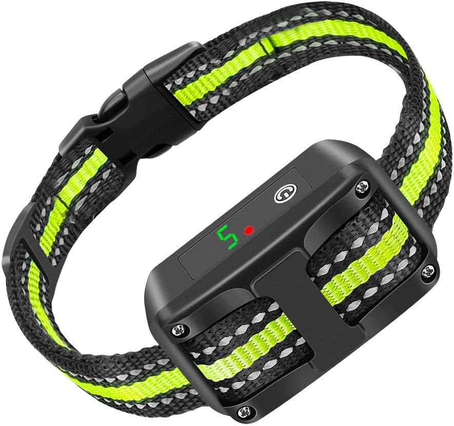 Dog Bark Collar, 5 Adjustable Sensitivity and Intensity Levels-Dual Anti-Barking Modes-Rechargeable Rainproof Reflective -No Barking Control Dog Shock Collar for Small Medium Large Dog green