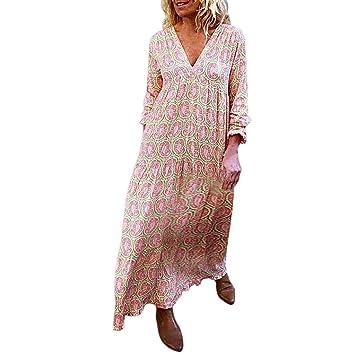 Damen Boho Sommerkleid V Neck Maxikleid Abendkleid Lang Partykleid Strandkleider