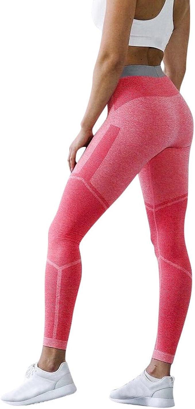 Mallas Deportivas Mujer Pantalones Impresión Color Sólido Yoga ...