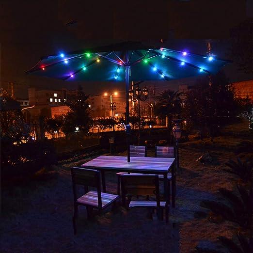 Parasol LZPQ sombrilla de Patio con luz Solar LED de 10 pies, Estilo de Mercado con para Mesa de jardín, Patio, terraza: Amazon.es: Jardín