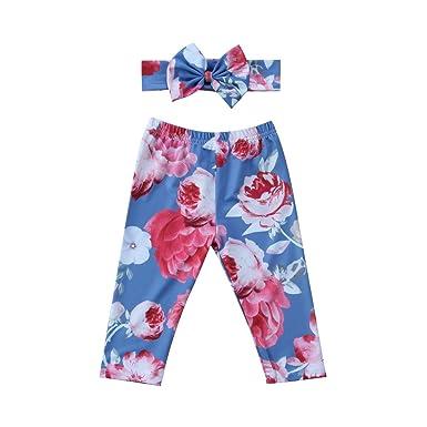 48e1de9effdc1 Mornbaby Newborn Baby Girl Floral Long Pants Leggings Headband 2pcs Outfit  Set (Light Blue,