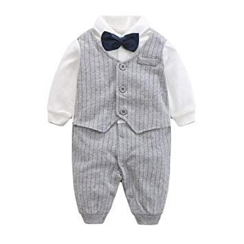 Mother & Kids Rompers 1pcs Kid Baby Boy Gentleman Romper Jumpsuit Clothes Outfit Suits Long Sleeve Button Casual Fashion Romper 0-24m